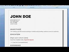 How To Do A Resume On Word How To Write A Good Resume Youtube