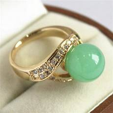 Light Green Stone Rings Cute Lady S 18kgp With Crystal Decorated Amp 12mm Light Green