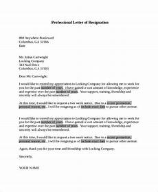 Professional Resignation Free 17 Letter Of Resignation Samples In Pdf Ms Word