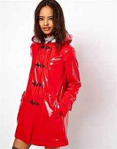 plastic coats for asos plastic trench with metal toggles in lyst