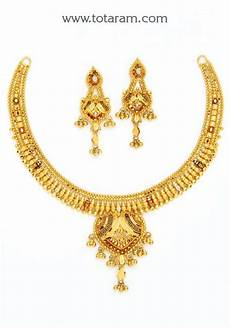 22k Gold Indian Jewellery Designs 22k Gold Necklace Amp Earrings Set Gs2795 Indian Jewelry
