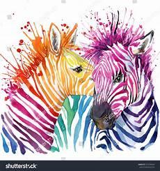 Colorful Zebra Design Funny Zebra Tshirt Graphics Rainbow Zebra Stock