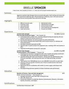 Resume Sample Of Sales Manager Assistant Managers Resume Examples Created By Pros