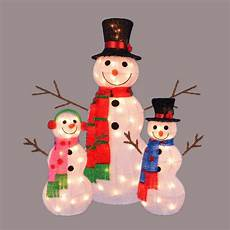 Lighted Snowman Family Set Of 3 Set Of 3 Lighted Tinsel Snowman Family Christmas Outdoor