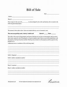 Bill Of Sale Example Sample Bill Of Sale Real Estate Forms
