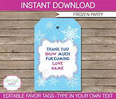 Party Favor Tag Frozen Party Favor Tags Template Thank You Tags Editable