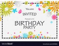 Birthday Invite Images Birthday Invitation Card With Beautiful Flower Vector Image