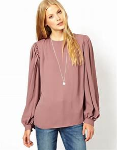 balloon sleeve lyst asos top with balloon sleeve and gathered detail in