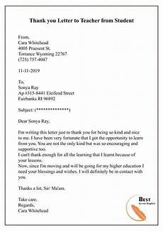 Thank You Letter To A Teacher Sample Thank You Letter Template To Teacher Professor