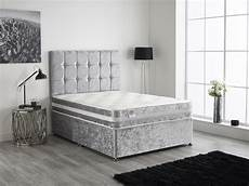 crushed velvet divan bed with memory foam matt