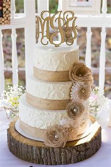 rustic burlap and lace wedding cake wedding cakes