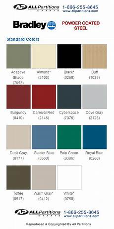 Partition Chart Bradley Mills Powder Coated Steel Color Chart