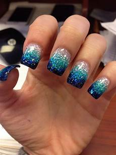 Black And Teal Nail Designs Blue Teal Glitter Faded Nails