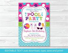 Pool Party Invites Free Printables Girls Pool Party Printable Birthday Invitation Editable