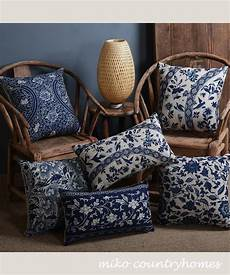 blue white chinoiserie motif pillow covers in 2020