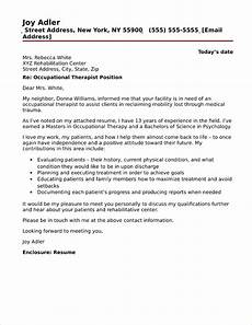 Cover Letter For Therapist Occupational Therapist Cover Letter Sample