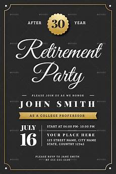 Retirement Invitation Examples Gold Retirement Invitation Flyer Templates By Vector