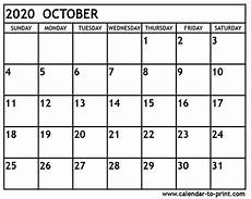 October 2020 Calendar Template October 2020 Calendar Printable