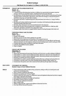 Resume For Child Care Director Child Care Teacher Resume Samples Velvet Jobs
