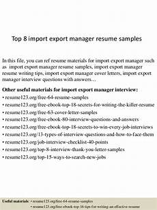 Import Export Resumes Top 8 Import Export Manager Resume Samples