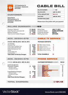 At T Receipt Template by Cable Service Phone Bill Document Sle Template Vector Image