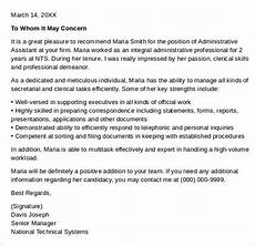 Letter Of Recommendation Administrative Assistant Sample Administrative Assistant Reference Letter Template