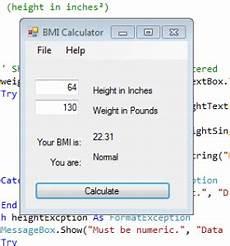 Bmi Calculator Visual Visual Basic Bmi Calculator Vernonvan Blog