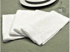 1 Dozen White Hemstitched Linen Dinner Napkins   18 inch