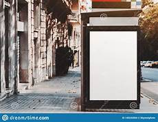 Bus Stop Poster Template White Poster Template In A Bus Stop Stock Photo Image Of