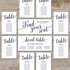 Table Seating Chart For Wedding Reception Template Navy Seating Chart Template Wedding Seating Chart Cards