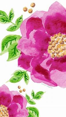 Watercolor Flower Wallpaper Iphone by Pink Green Illustrated Watercolour Floral Flowers Iphone