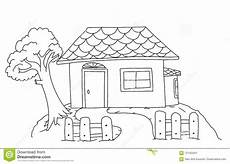 house coloring page for children stock illustration