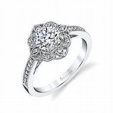 sylvie floral engagement ring andrews jewelers buffalo