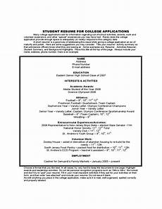 Student Resume For College Application Student Sample Resume For College Application Free Download
