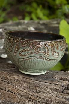 Pottery Bowl Designs Wheel Thrown Hand Carved Bowl With Tree Design Ceramics