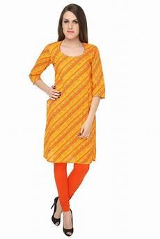 orange kurti with matka neck and beadwork kurti neck