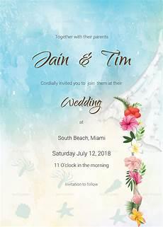 Wedding Cards Samples Beach Wedding Invitation Card Template In Psd Word