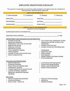 Orientation Checklist Employee Orientation Checklist Bc Municipal Safety