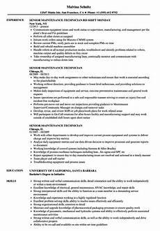 Maintenance Technician Resume Sample Senior Maintenance Technician Resume Samples Velvet Jobs