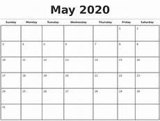 Calendar Print Out 2020 May 2020 Monthly Calendar Template