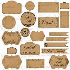 Label Paper Vintage Kraft Paper Labels Monogram Tags Circle Frame