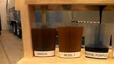 Synthetic Oil Color Chart Oil Flow Test Mobil 1 Vs Amsoil Vs Royal Purple Vs