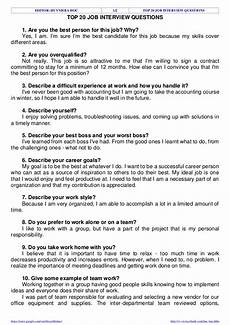 Questions And Answers For A Job Interview Top 20 Job Interview Questions