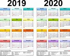 Daily Calendar 2020 Excel 2019 2020 Calendar Free Printable Two Year Excel