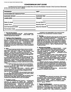 Condo Lease Template Condominium Lease Agreement Template Free Download