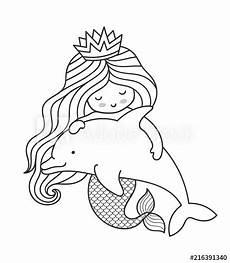 kawaii mermaid hugging dolphin character vector