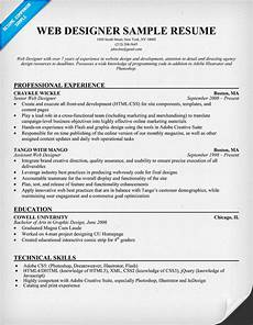 Web Design Resume Resume Format Resume Samples Design