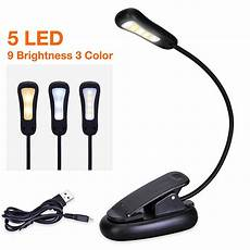 rechargeable led reading book light 5 led clip on reading