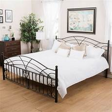 bedroom furniture black finish iron metal size bed