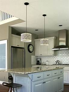 Red Pendant Lighting Kitchen Customize Kitchen Lighting With Fabric Covered Drum Shades
